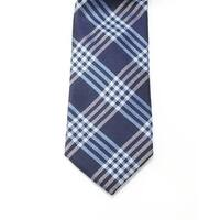 Black Brown 1826 NEW Navy Blue Mens One Size Woven Plaid Silk Neck Tie