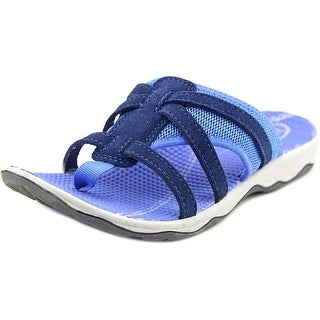 Easy Spirit Yiska Women W Open Toe Canvas Blue Slides Sandal