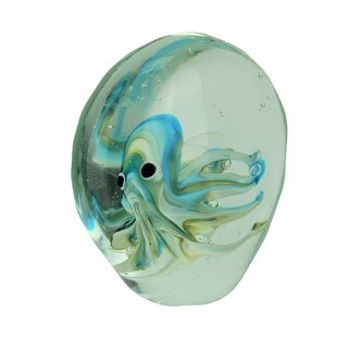 Captive Blue / Green Octopus Art Glass Paperweight - 5 X 4.5 X 2.25 inches
