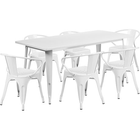 Brimmes 7pcs Rectangular 31.5'' x 63'' White Metal Table w/6 Arm Chairs