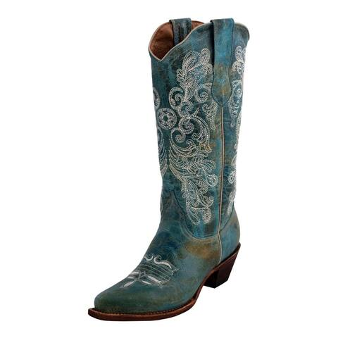 Ferrini Western Boots Women Southern Charm Snip Toe Turquoise