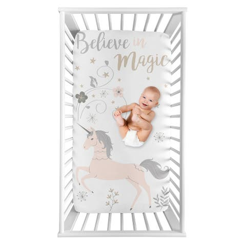 Unicorn Collection Girl Photo Op Fitted Crib Sheet - Blush Pink, Grey and Gold Flowers and Stars