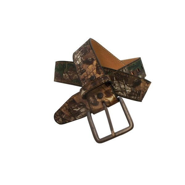 Realtree Western Belt Men Genuine Leather Canvas Brass 28