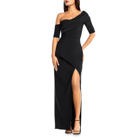 Aidan Mattox Womens Formal Dress One-Shoulder Side Slit - Black