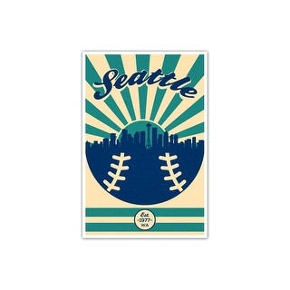 Seattle - Vintage MLB - 24x36 Gallery Wrapped Canvas Wall Art