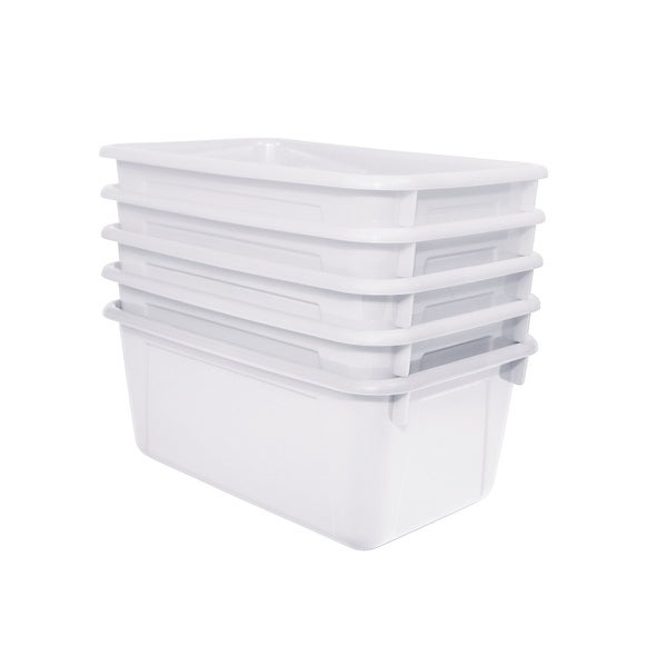 School Smart Stackable Storage Totes, 12 x 8 x 5 Inches, White, Pack of 5