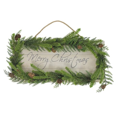 """17.5"""" Pine Wood with Winter Foliage Merry Christmas Sign - N/A"""
