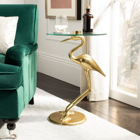 "Safavieh Tori Crane Base Accent Table - Gold / Glass - 14.5"" x 10.5"" x 27"""
