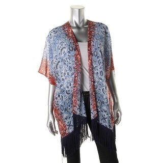 Two by Vince Camuto Womens Printed Fringe Cardigan Top - L/XL