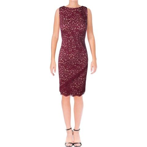 Lauren Ralph Lauren Womens Party Dress Lace Overlay Sleeveless