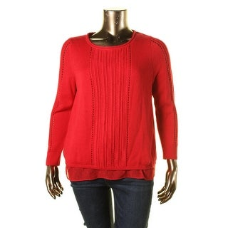 Lucky Brand Womens Flyaway Layered Pullover Sweater