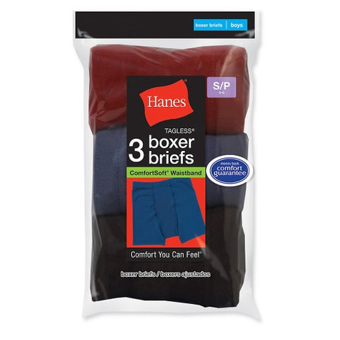 Hanes Boys' ComfortSoft® Dyed Boxer Briefs 3-Pack - Size - L - Color - Assorted/Stripe