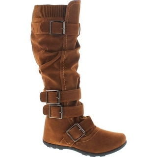 Womens Knee High Boots Ruched Leather Buckles Knitted Calf - Tan