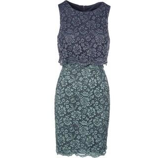 Aqua Womens Lace Tiered Cocktail Dress