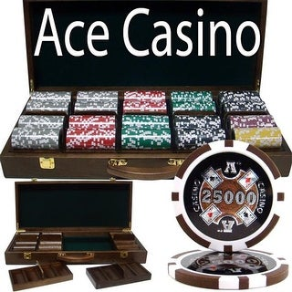 PSC-0103W 500 Ct - Pre-Packaged - Ace Casino 14 Gram - Walnut Case