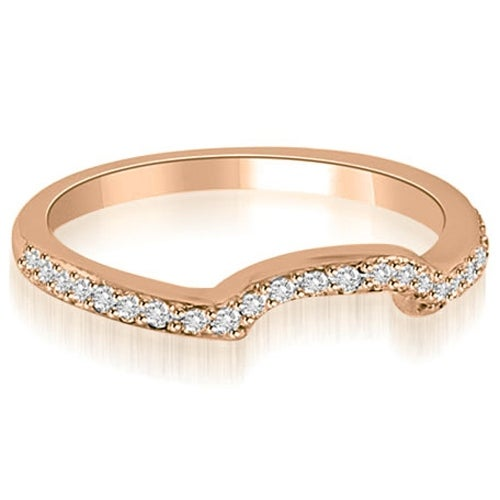 0.20 cttw. 14K Rose Gold Curved Round Cut Diamond Wedding Band
