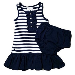 Ralph Lauren Baby Girls' Striped Cotton Dress - Blue White Striped - 12 Months