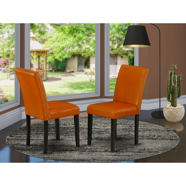 East West Furniture ABP1T61 Abbott Parson Chair with Black Leg and Pu Leather Color Baked Bean, Set of 2. Opens flyout.