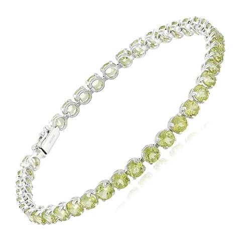 "Natural Peridot Tennis Bracelet in 14K White Gold, 7"" - Green"