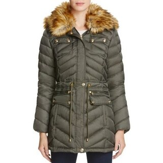 Laundry by Shelli Segal Faux-Fur-Trim Hooded Puffer Coat Tea Tree Extra Large