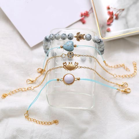 5PC. Ocean Blue Bracelet Set