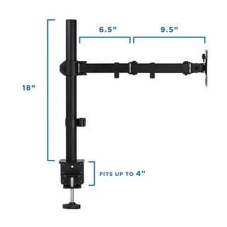 "Mount-It! Mount Arm for Single Monitor Full Motion Fits 20 - 32"" Screens Height Adjustable With Clamp and Grommet Base (MI-2751)"