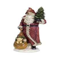 "Pack of 2 Traditional Style Santa Claus Christmas Figure Carrying a Tree and Gifts 18"" - green"