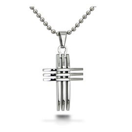 Stainless Steel Cross Pendant on 22 Inch Bead Chain