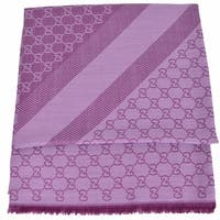 Gucci 281942 XL Wool Silk Lilac Plum GG Guccissima Logo Scarf Shawl Wrap - lilac