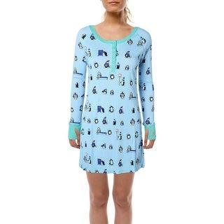 Munki Munki Womens Penguin Parade Nightshirt Knit Henley