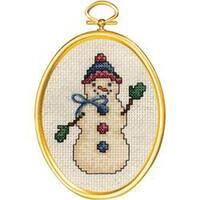 "Friendly Snowman Mini Counted Cross Stitch Kit-3""X4"" 14 Count"