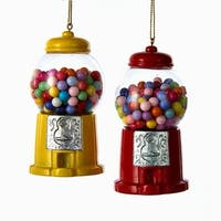Pack of 12 Red and Yellow Candy Gumball Machine Christmas Ornaments