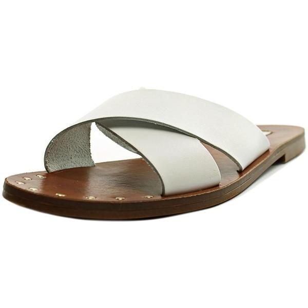 Steve Madden Dryzzle Women Open Toe Leather White Slides Sandal