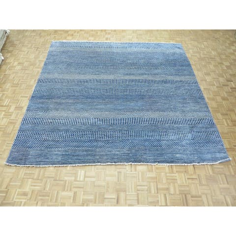 """Hand Knotted Blue Gabbe with Wool & Silk Oriental Rug (11'8"""" x 11'8"""") - 11'8"""" x 11'8"""""""