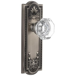 """Grandeur PARCHM_PRV_238  Parthenon Solid Brass Rose Privacy Door Knob Set with Chambord Crystal Knob and 2-3/8"""" Backset"""