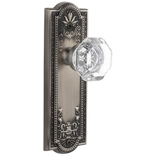 """Grandeur PARCHM_PSG_238  Parthenon Solid Brass Rose Passage Door Knob Set with Chambord Crystal Knob and 2-3/8"""" Backset"""