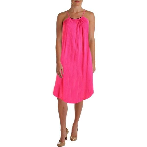 Aqua Womens Juniors Casual Dress Solid Textured