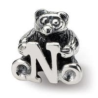 Sterling Silver Reflections Kids Letter N Bead (3.5mm Diameter Hole)