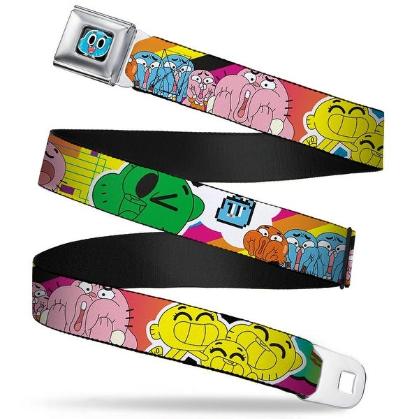 Gumball Face Close Up Black Full Color Gumball Darwin Dad Expressions Seatbelt Belt