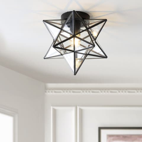 "12"" Moravian Star Glass Flush Mount by JONATHAN Y - 1 Bulb"