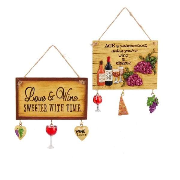 "4"" Tuscan Winery ""Love and Wine Sweeter with Time"" Plaque Christmas Ornament - brown"