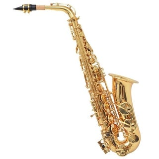 vidaXL Alto Saxophone Yellow Brass with Gold Lacquer Eb Reed with Cleaning Set