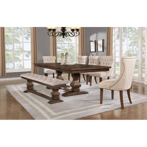 Best Quality Furniture 7-Piece Walnut Extension Dining Table Set with Bench
