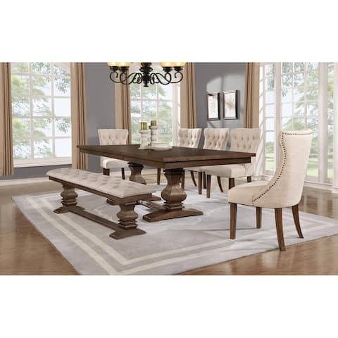 "Best Quality Furniture 7-Piece Walnut 18"" Extension Dining Set w/Bench"