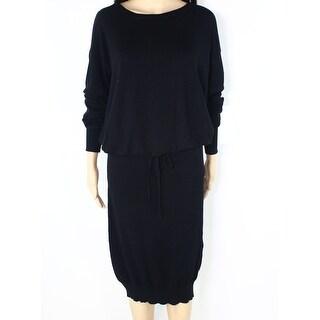 Tracy Reese NEW Deep Black Womens Size XS Drawstring Sweater Dress