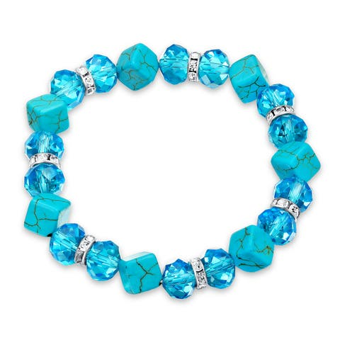 Blue Crystal Imitation Turquoise Strand Stretch Bracelet For Women White Crystal Rondelle Spacer Gold Plated Brass