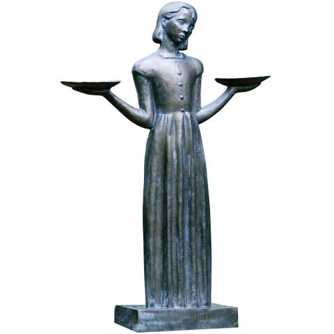 "Savannah Bird Girl Statue with Pedestal - Lawn and Garden Sculpture (Medium-28""H) - 28 in."