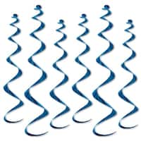 """Club Pack of 36 Metallic Blue Twirly Whirly Hanging Decorations 36"""""""