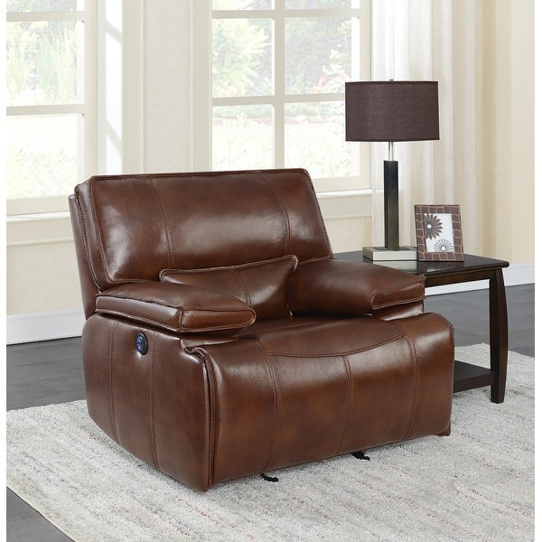 Southwick Saddle Brown Pillow Top Arm Power Glider Recliner. Opens flyout.