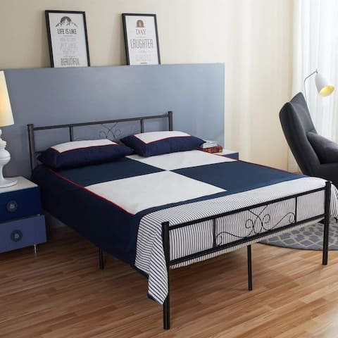 Twin/Full/Queen Easy Set-up Metal Bed Frame Platform Box Spring Replacement with Headboard and Footboard,Metal Slats
